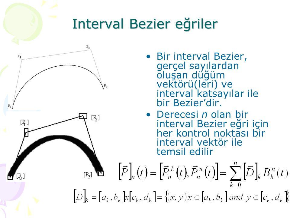 Interval Bezier eğriler Bir interval Bezier, gerçel sayılardan oluşan düğüm vektörü(leri) ve interval katsayılar ile bir Bezier'dir. Derecesi n olan b