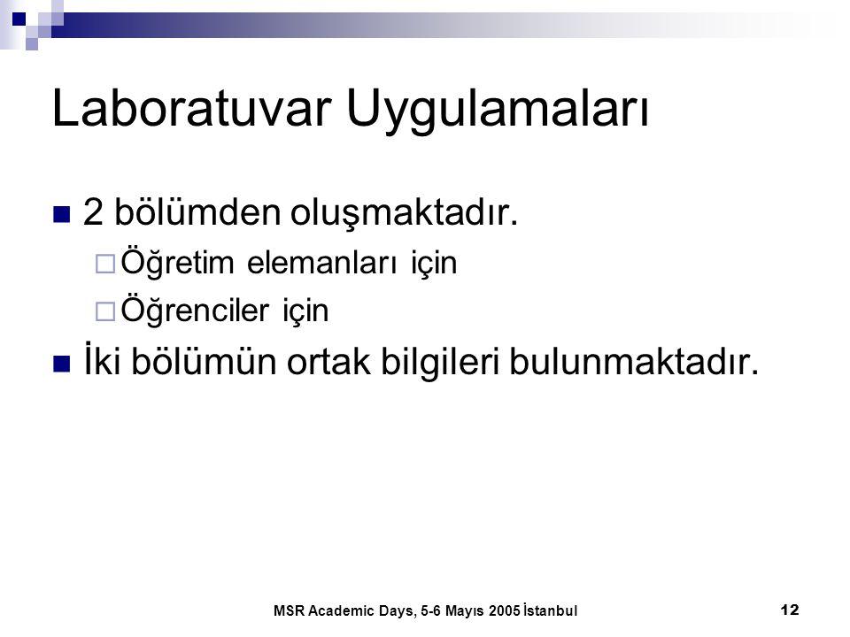 MSR Academic Days, 5-6 Mayıs 2005 İstanbul12 Laboratuvar Uygulamaları 2 bölümden oluşmaktadır.  Öğretim elemanları için  Öğrenciler için İki bölümün