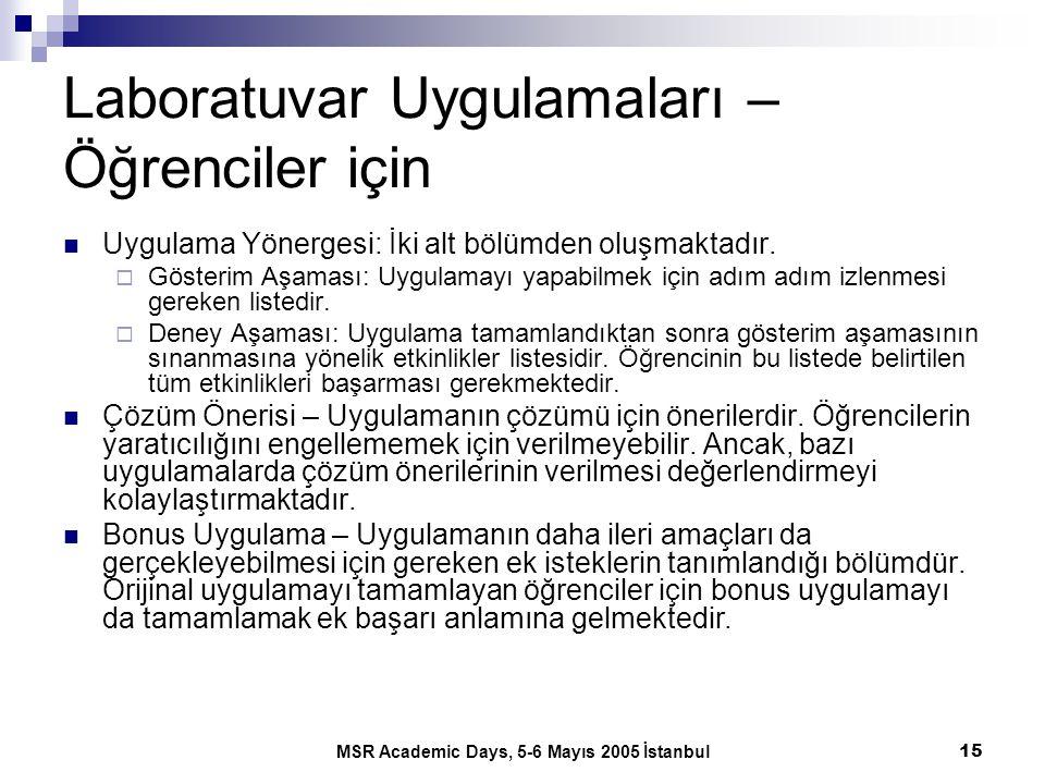 MSR Academic Days, 5-6 Mayıs 2005 İstanbul15 Laboratuvar Uygulamaları – Öğrenciler için Uygulama Yönergesi: İki alt bölümden oluşmaktadır.  Gösterim