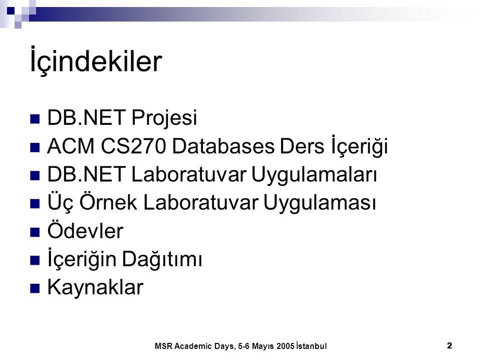 MSR Academic Days, 5-6 Mayıs 2005 İstanbul2 İçindekiler DB.NET Projesi ACM CS270 Databases Ders İçeriği DB.NET Laboratuvar Uygulamaları Üç Örnek Labor