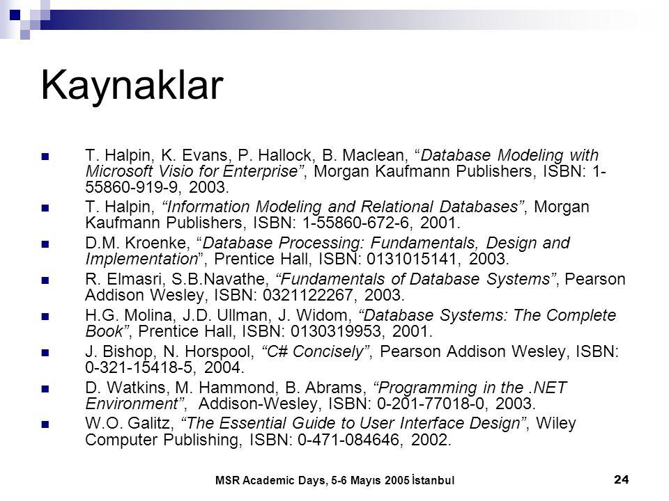 "MSR Academic Days, 5-6 Mayıs 2005 İstanbul24 Kaynaklar T. Halpin, K. Evans, P. Hallock, B. Maclean, ""Database Modeling with Microsoft Visio for Enterp"
