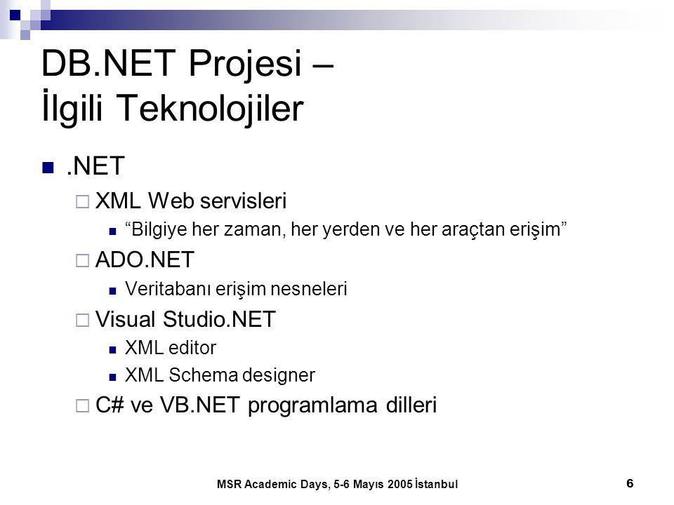 """MSR Academic Days, 5-6 Mayıs 2005 İstanbul6 DB.NET Projesi – İlgili Teknolojiler.NET  XML Web servisleri """"Bilgiye her zaman, her yerden ve her araçta"""