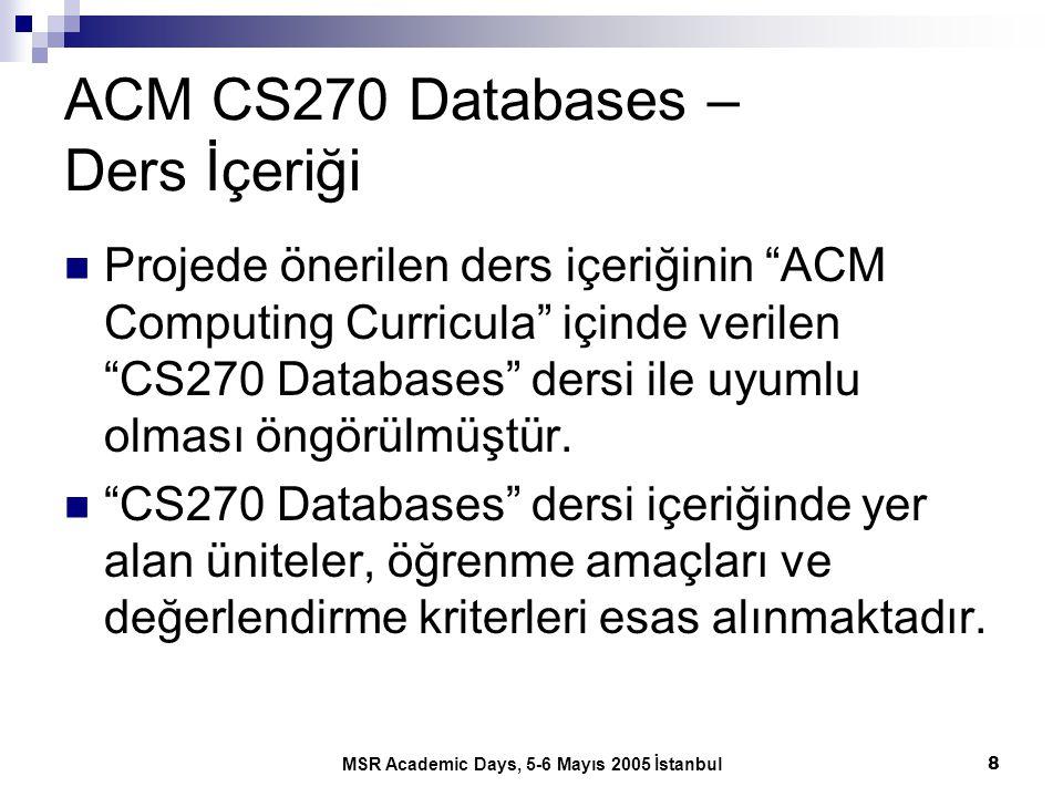 """MSR Academic Days, 5-6 Mayıs 2005 İstanbul8 ACM CS270 Databases – Ders İçeriği Projede önerilen ders içeriğinin """"ACM Computing Curricula"""" içinde veril"""
