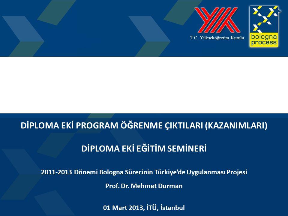 1 T.C. Yükseköğretim Kurulu DİPLOMA EKİ PROGRAM ÖĞRENME ÇIKTILARI (KAZANIMLARI) DİPLOMA EKİ EĞİTİM SEMİNERİ 2011-2013 Dönemi Bologna Sürecinin Türkiye