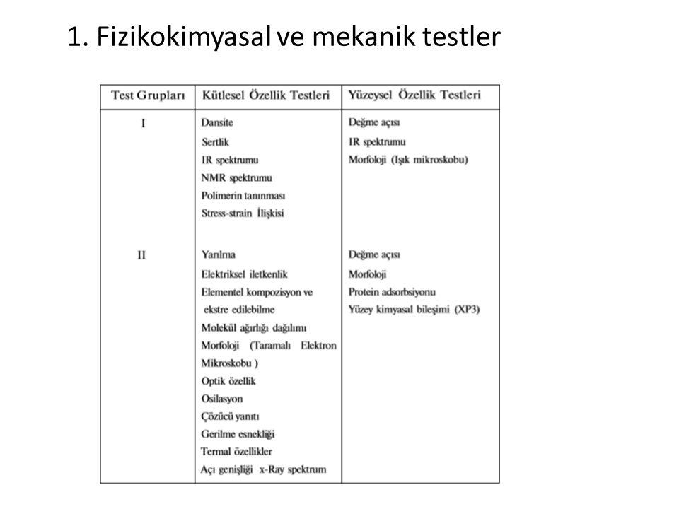 1. Fizikokimyasal ve mekanik testler