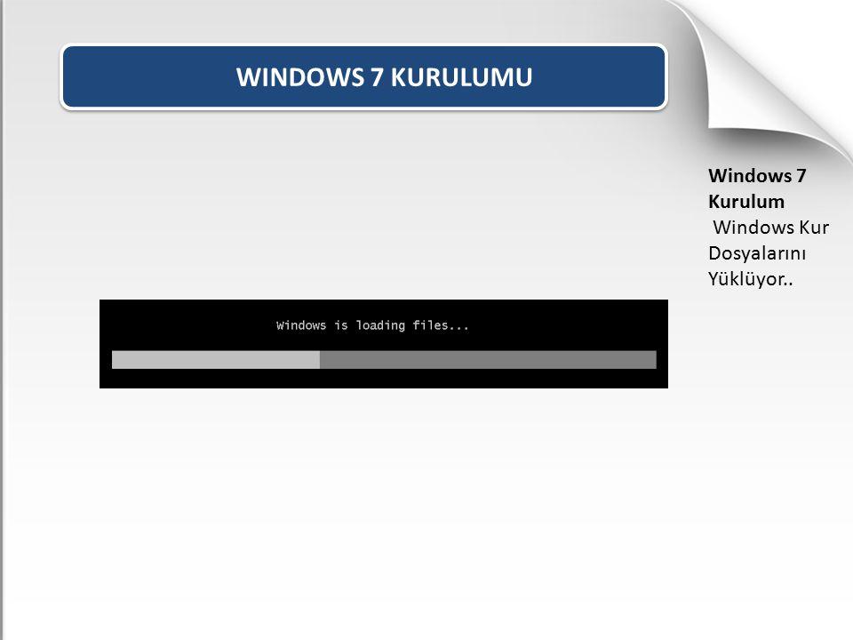WINDOWS 7 KURULUMU Windows 7 Kurulum Windows Kur Dosyalarını Yüklüyor..