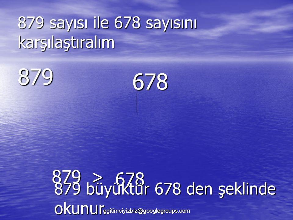 879 sayısı ile 678 sayısını karşılaştıralım 879 678 8 6 879> 678 879 büyüktür 678 den şeklinde okunur.