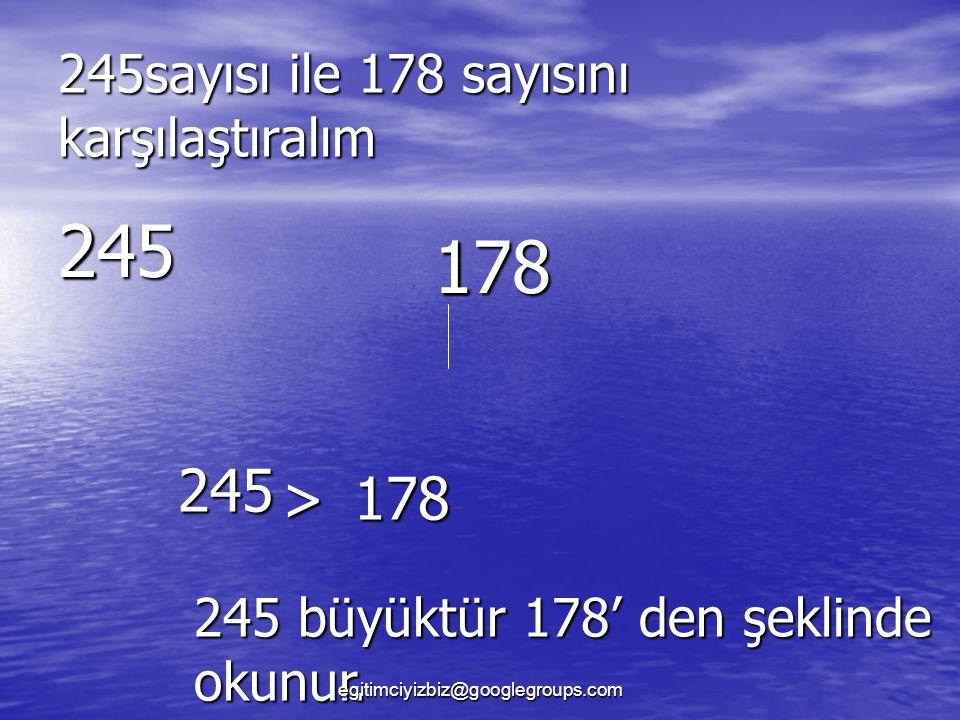 245sayısı ile 178 sayısını karşılaştıralım 245 178 2 1 245 >178 245 büyüktür 178' den şeklinde okunur.