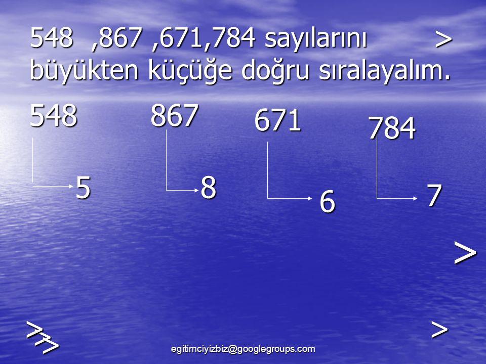 548,867,671,784 sayılarını büyükten küçüğe doğru sıralayalım.