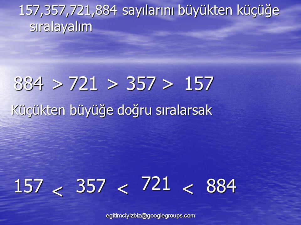 157,357,721,884 sayılarını büyükten küçüğe sıralayalım 884>721>357>157 Küçükten büyüğe doğru sıralarsak 157 < 357 < 721 < 884 egitimciyizbiz@googlegroups.com
