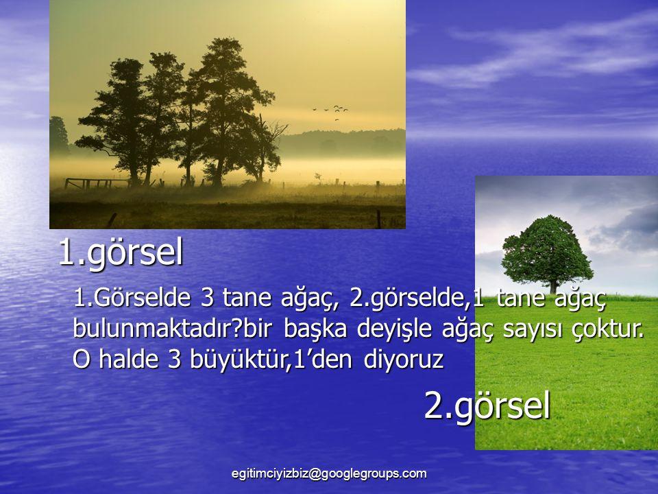 1.görsel 2.görsel 1.Görselde 3 tane ağaç, 2.görselde,1 tane ağaç bulunmaktadır?bir başka deyişle ağaç sayısı çoktur.