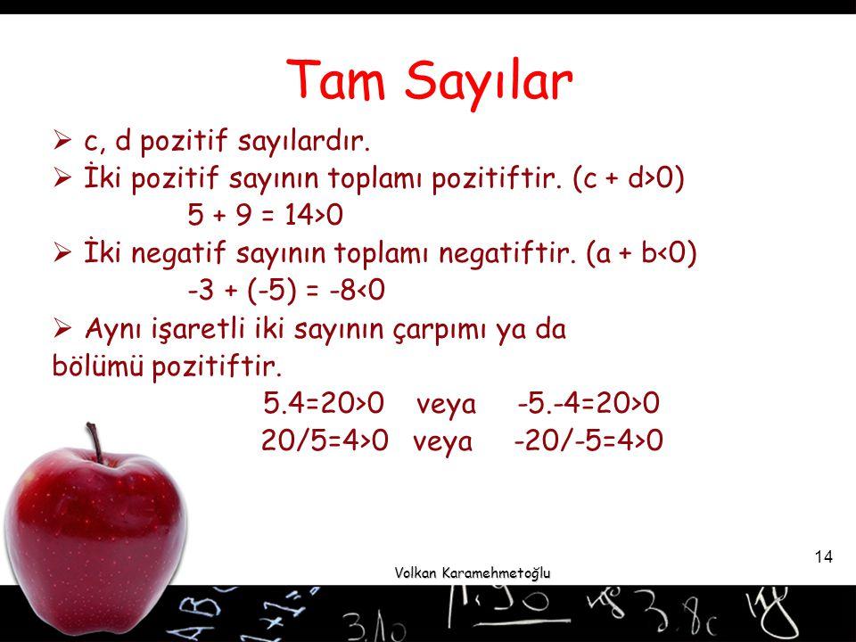 Volkan Karamehmetoğlu 14 Tam Sayılar  c, d pozitif sayılardır.