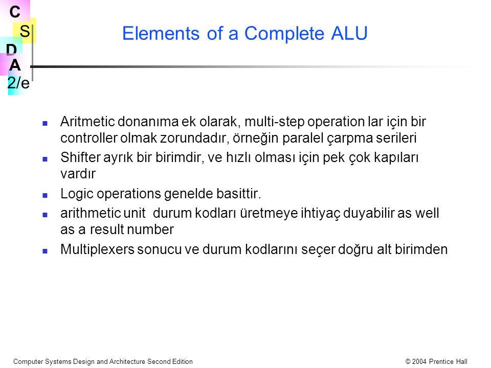 S 2/e C D A Computer Systems Design and Architecture Second Edition© 2004 Prentice Hall Elements of a Complete ALU Aritmetic donanıma ek olarak, multi-step operation lar için bir controller olmak zorundadır, örneğin paralel çarpma serileri Shifter ayrık bir birimdir, ve hızlı olması için pek çok kapıları vardır Logic operations genelde basittir.