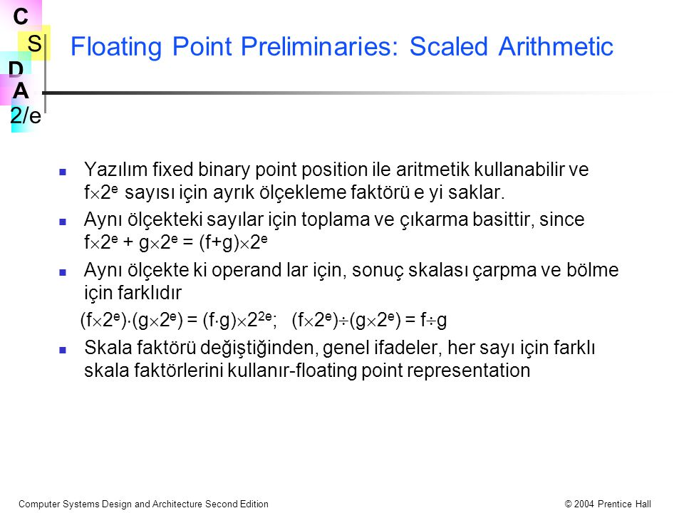 S 2/e C D A Computer Systems Design and Architecture Second Edition© 2004 Prentice Hall Floating Point Preliminaries: Scaled Arithmetic Yazılım fixed binary point position ile aritmetik kullanabilir ve f  2 e sayısı için ayrık ölçekleme faktörü e yi saklar.