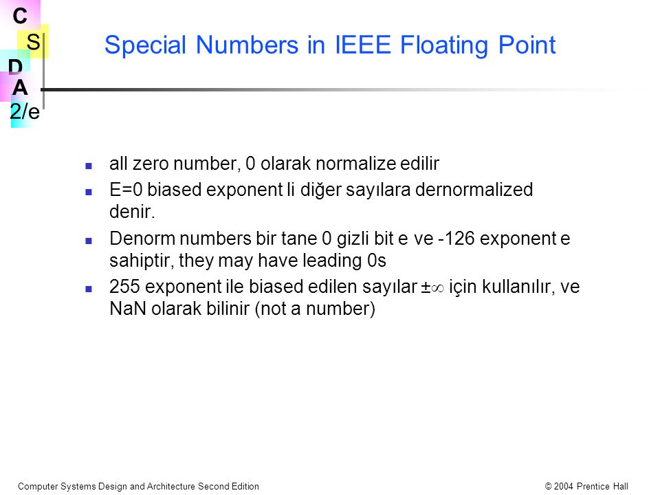 S 2/e C D A Computer Systems Design and Architecture Second Edition© 2004 Prentice Hall Special Numbers in IEEE Floating Point all zero number, 0 olarak normalize edilir E=0 biased exponent li diğer sayılara dernormalized denir.