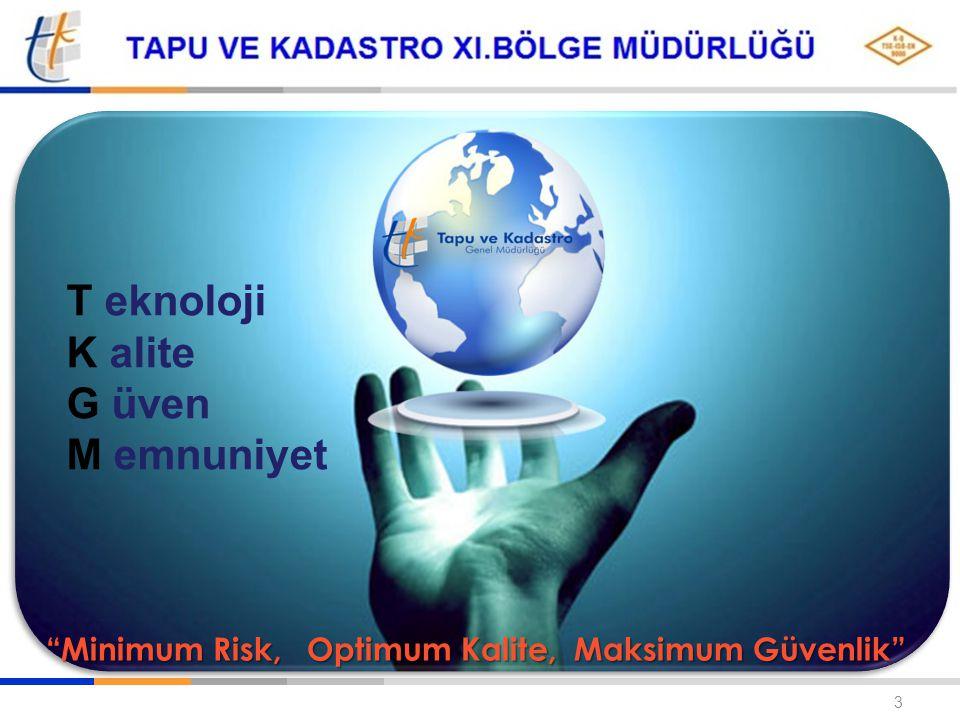 TAPU VE KADASTRO GENEL MÜDÜRLÜĞÜ 3 T eknoloji K alite G üven M emnuniyet Minimum Risk, Optimum Kalite, Maksimum Güvenlik