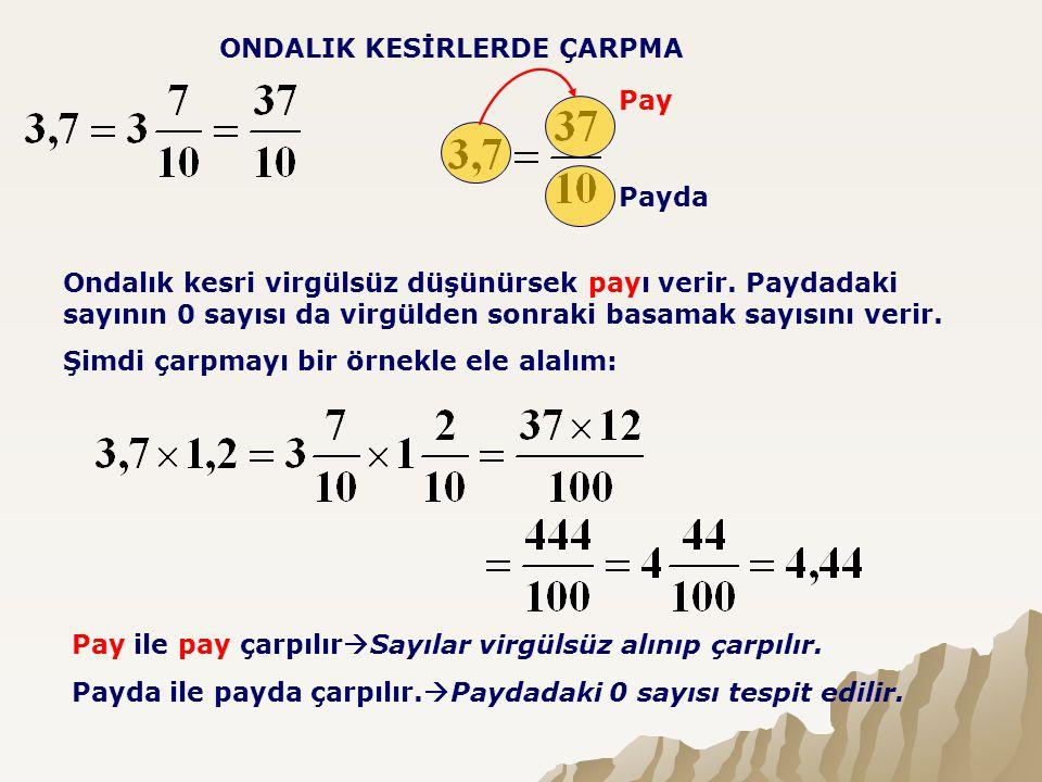 ONDALIK KESİRLERDE ÇARPMA Pay Payda Ondalık kesri virgülsüz düşünürsek payı verir. Paydadaki sayının 0 sayısı da virgülden sonraki basamak sayısını ve