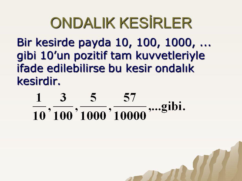 ONDALIK KESİRLER Bir kesirde payda 10, 100, 1000,... gibi 10'un pozitif tam kuvvetleriyle ifade edilebilirse bu kesir ondalık kesirdir.