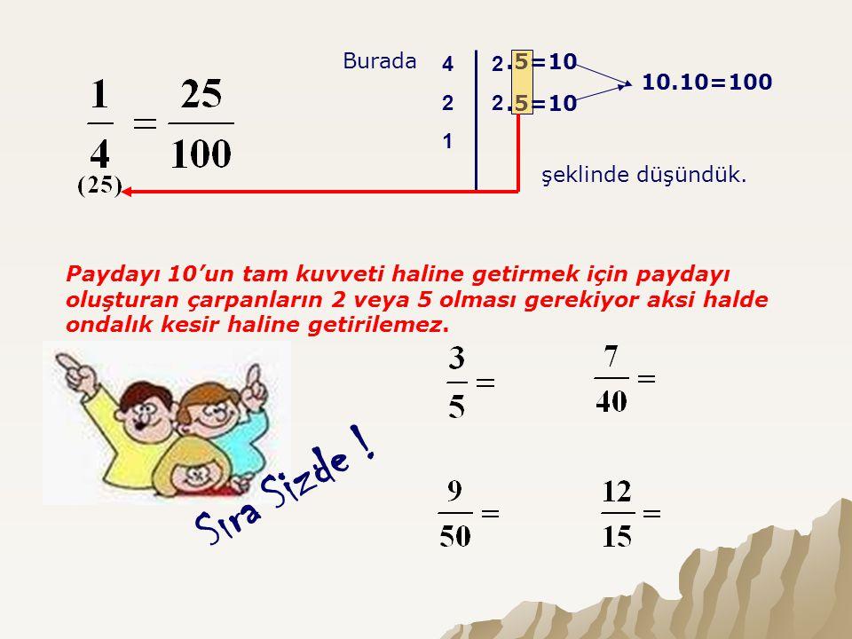 Burada 4 2 1 2 2.5=10 10.10=100 şeklinde düşündük. Paydayı 10'un tam kuvveti haline getirmek için paydayı oluşturan çarpanların 2 veya 5 olması gereki