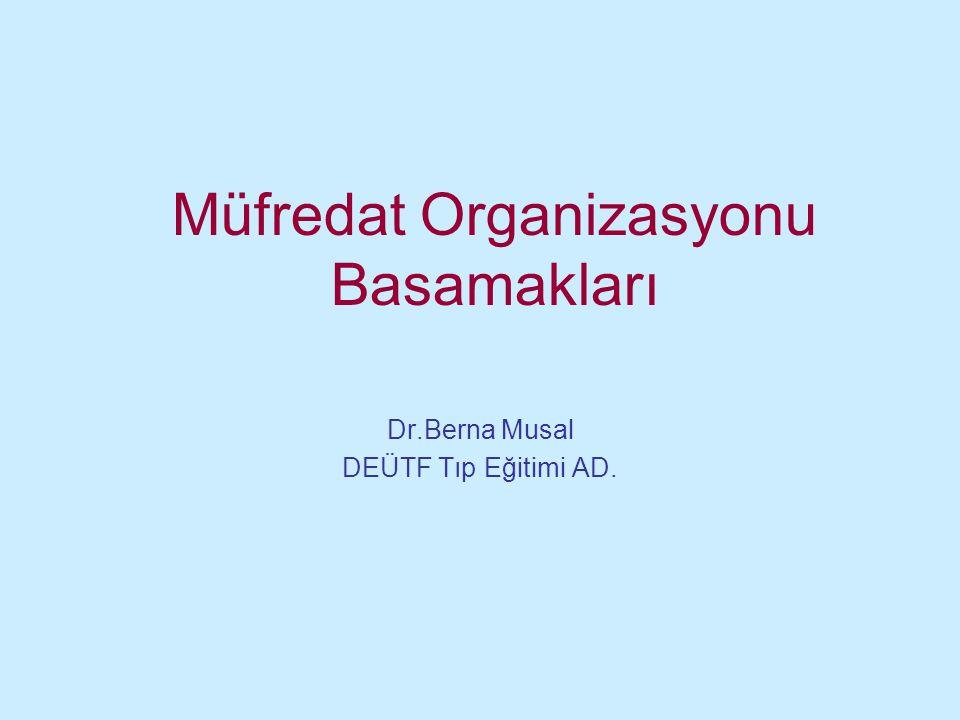 Müfredat Organizasyonu Basamakları Dr.Berna Musal DEÜTF Tıp Eğitimi AD.