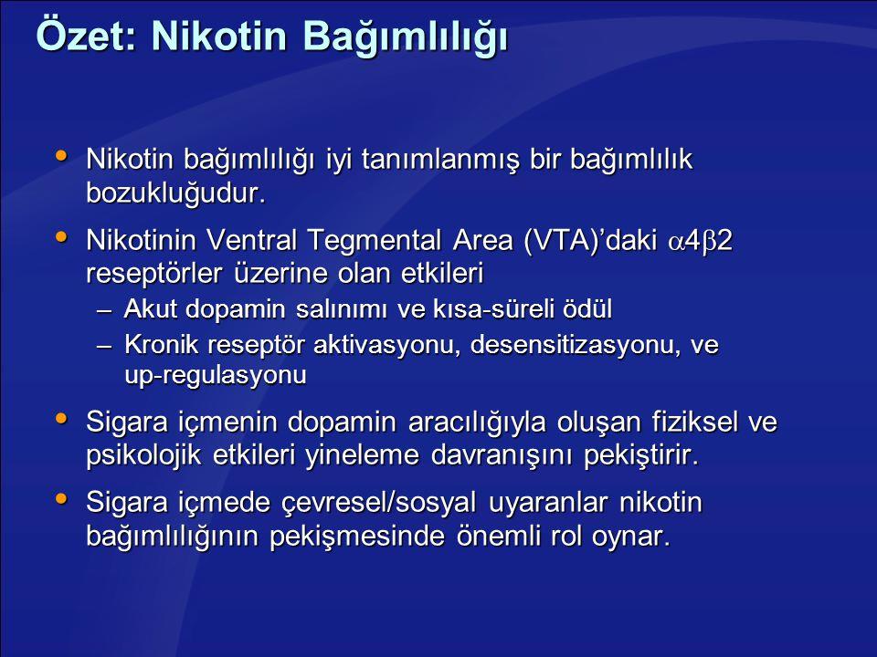 Özet: Nikotin Bağımlılığı  Nikotin bağımlılığı iyi tanımlanmış bir bağımlılık bozukluğudur.  Nikotinin Ventral Tegmental Area (VTA)'daki  4  2 res