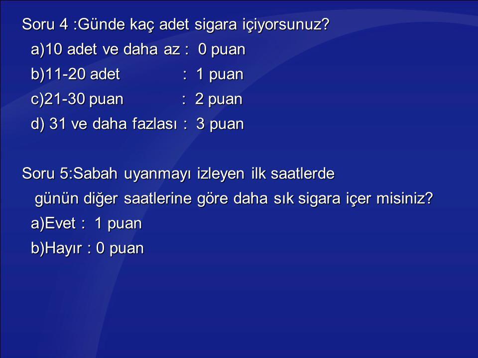 Soru 4 :Günde kaç adet sigara içiyorsunuz? a)10 adet ve daha az : 0 puan a)10 adet ve daha az : 0 puan b)11-20 adet : 1 puan b)11-20 adet : 1 puan c)2