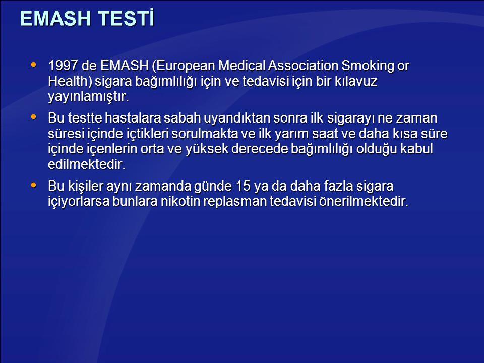EMASH TESTİ  1997 de EMASH (European Medical Association Smoking or Health) sigara bağımlılığı için ve tedavisi için bir kılavuz yayınlamıştır.  Bu