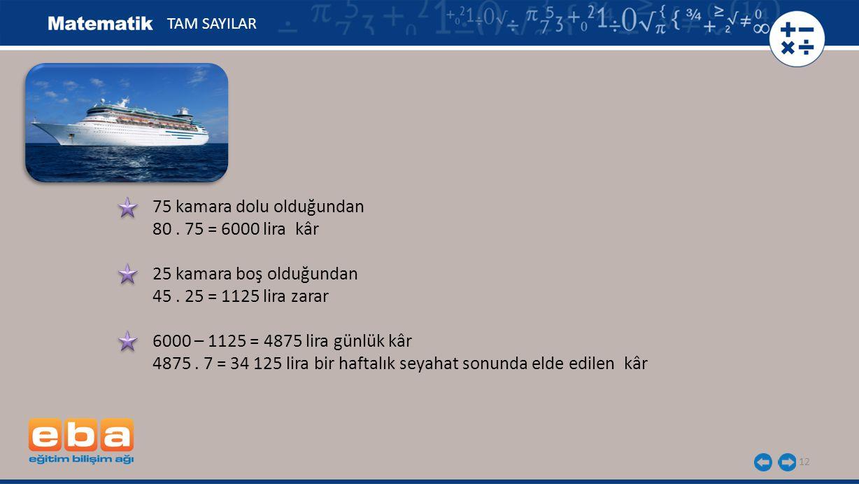 12 75 kamara dolu olduğundan 80.75 = 6000 lira kâr 25 kamara boş olduğundan 45.