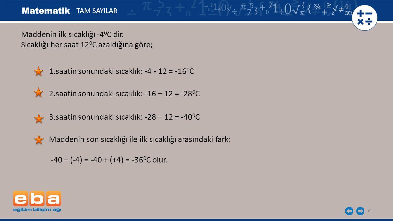 Maddenin ilk sıcaklığı -4 0 C dir.