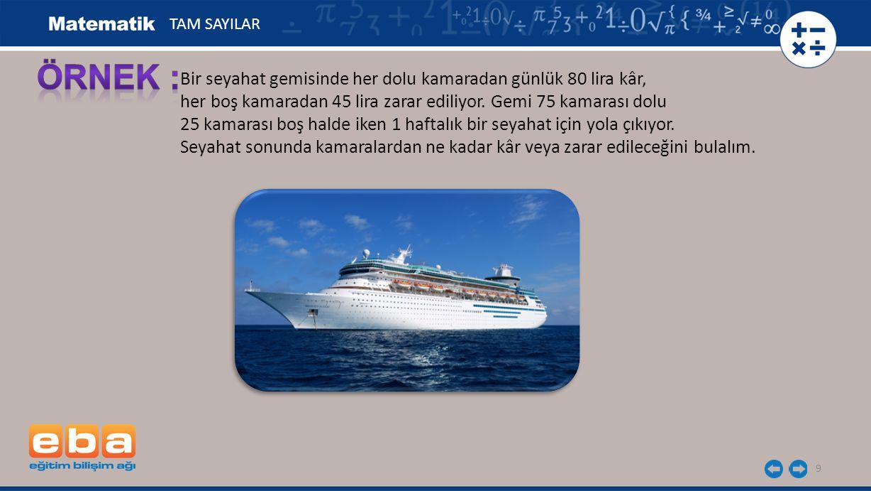 9 Bir seyahat gemisinde her dolu kamaradan günlük 80 lira kâr, her boş kamaradan 45 lira zarar ediliyor.