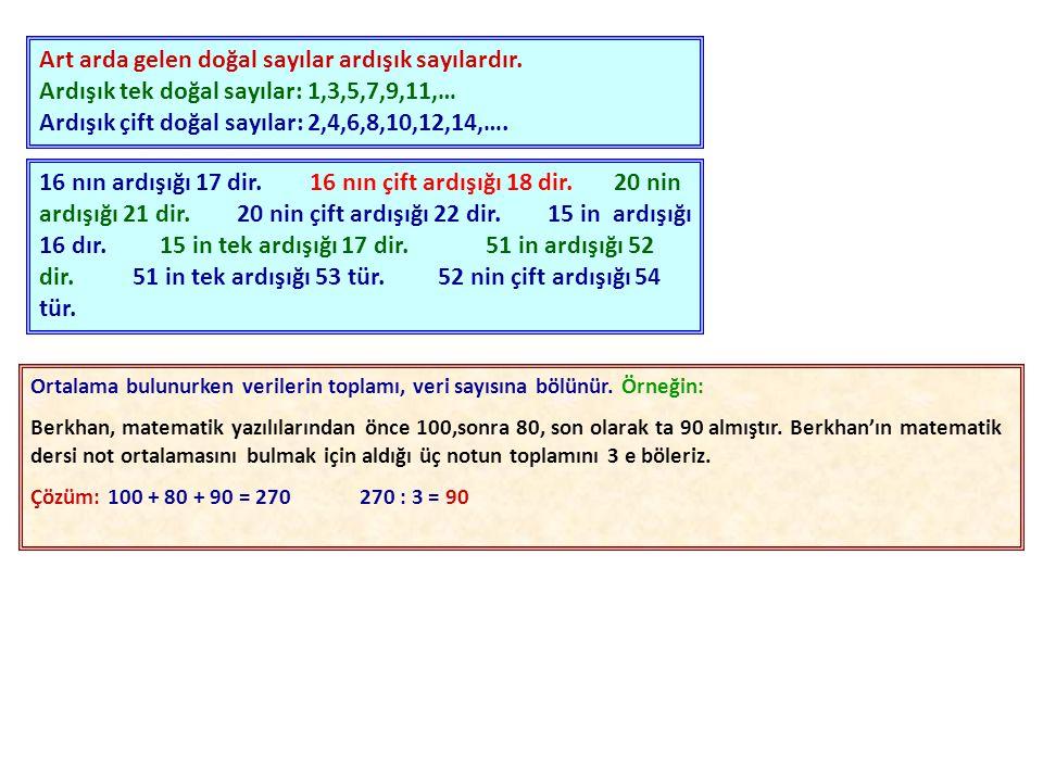 Art arda gelen doğal sayılar ardışık sayılardır.