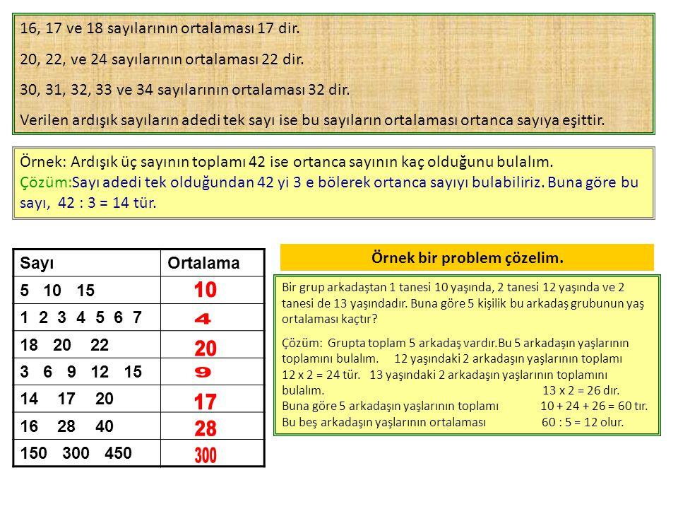 16, 17 ve 18 sayılarının ortalaması 17 dir.20, 22, ve 24 sayılarının ortalaması 22 dir.