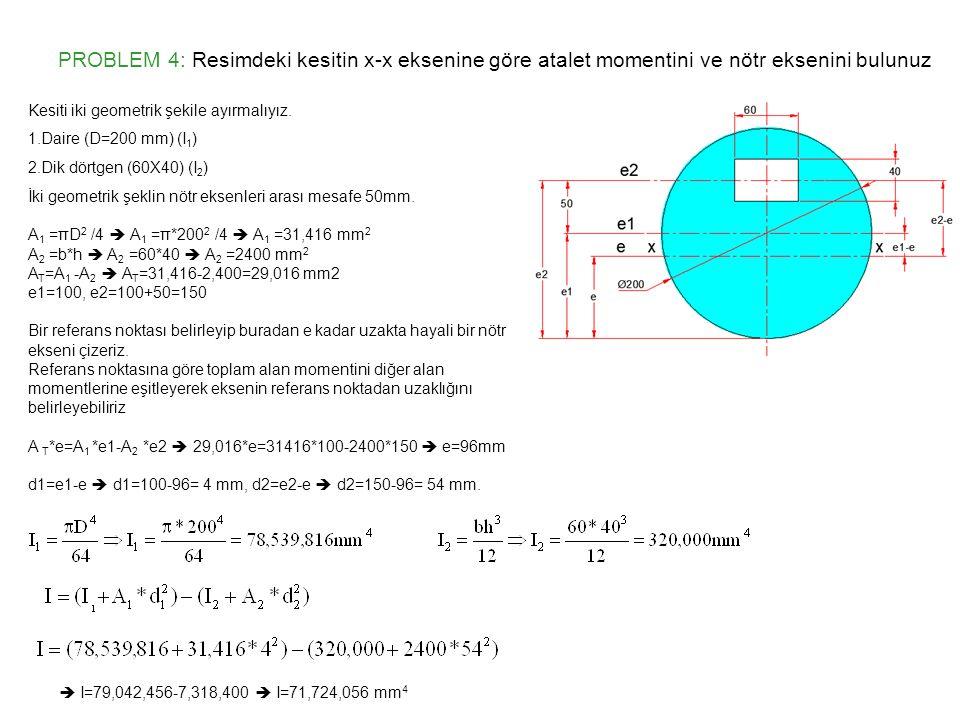 PROBLEM 4: Resimdeki kesitin x-x eksenine göre atalet momentini ve nötr eksenini bulunuz  I=79,042,456-7,318,400  I=71,724,056 mm 4 Kesiti iki geome