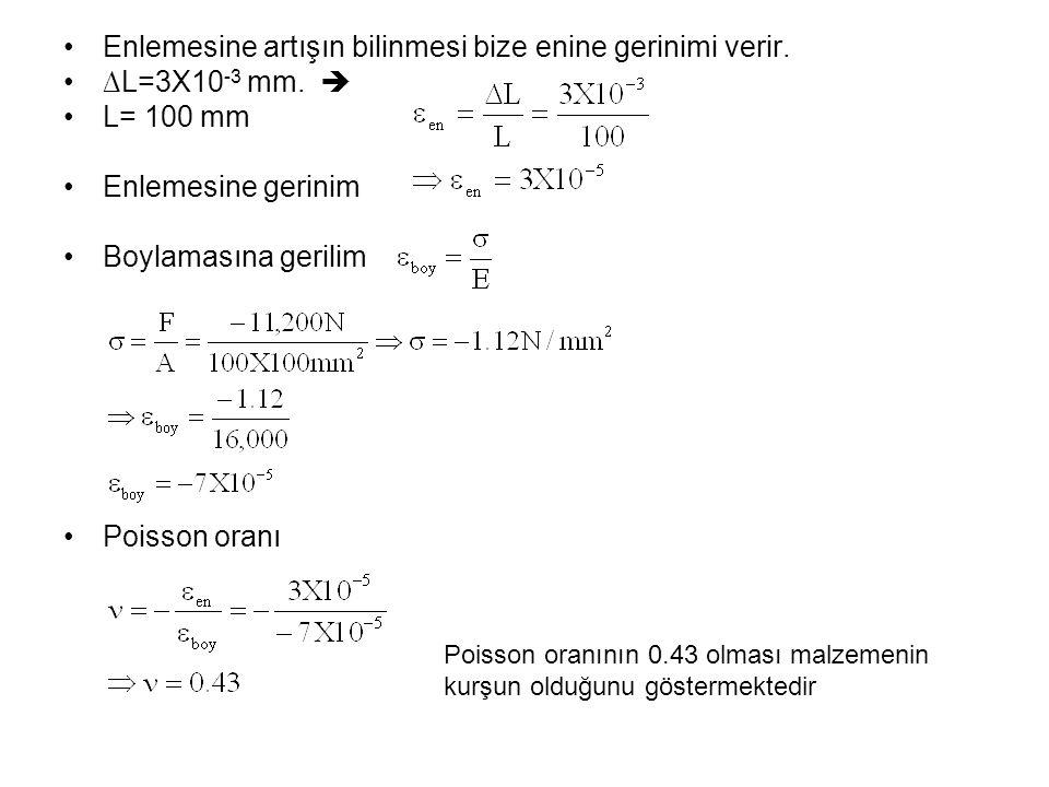 Enlemesine artışın bilinmesi bize enine gerinimi verir. ∆L=3X10 -3 mm.  L= 100 mm Enlemesine gerinim Boylamasına gerilim Poisson oranı Poisson oranın