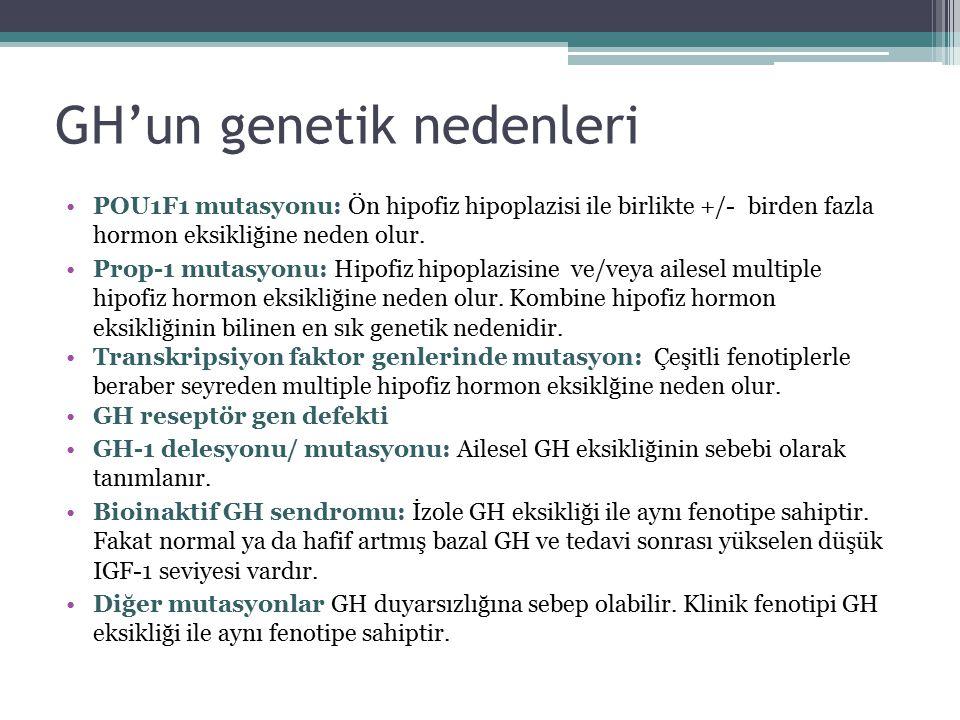 GH'un genetik nedenleri POU1F1 mutasyonu: Ön hipofiz hipoplazisi ile birlikte +/- birden fazla hormon eksikliğine neden olur. Prop-1 mutasyonu: Hipofi