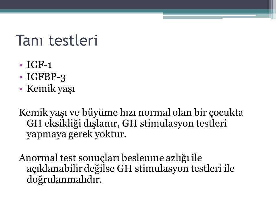 Tanı testleri IGF-1 IGFBP-3 Kemik yaşı Kemik yaşı ve büyüme hızı normal olan bir çocukta GH eksikliği dışlanır, GH stimulasyon testleri yapmaya gerek
