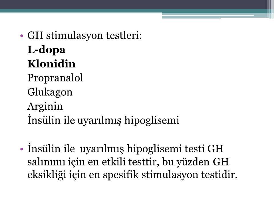 GH stimulasyon testleri: L-dopa Klonidin Propranalol Glukagon Arginin İnsülin ile uyarılmış hipoglisemi İnsülin ile uyarılmış hipoglisemi testi GH sal