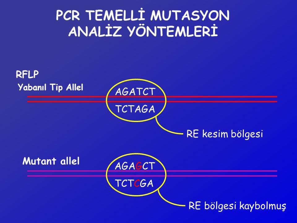 PCR TEMELLİ MUTASYON ANALİZ YÖNTEMLERİ RFLP AGATCT Yabanıl Tip Allel Mutant allel TCTAGA AGAGCT TCTCGA RE kesim bölgesi RE bölgesi kaybolmuş