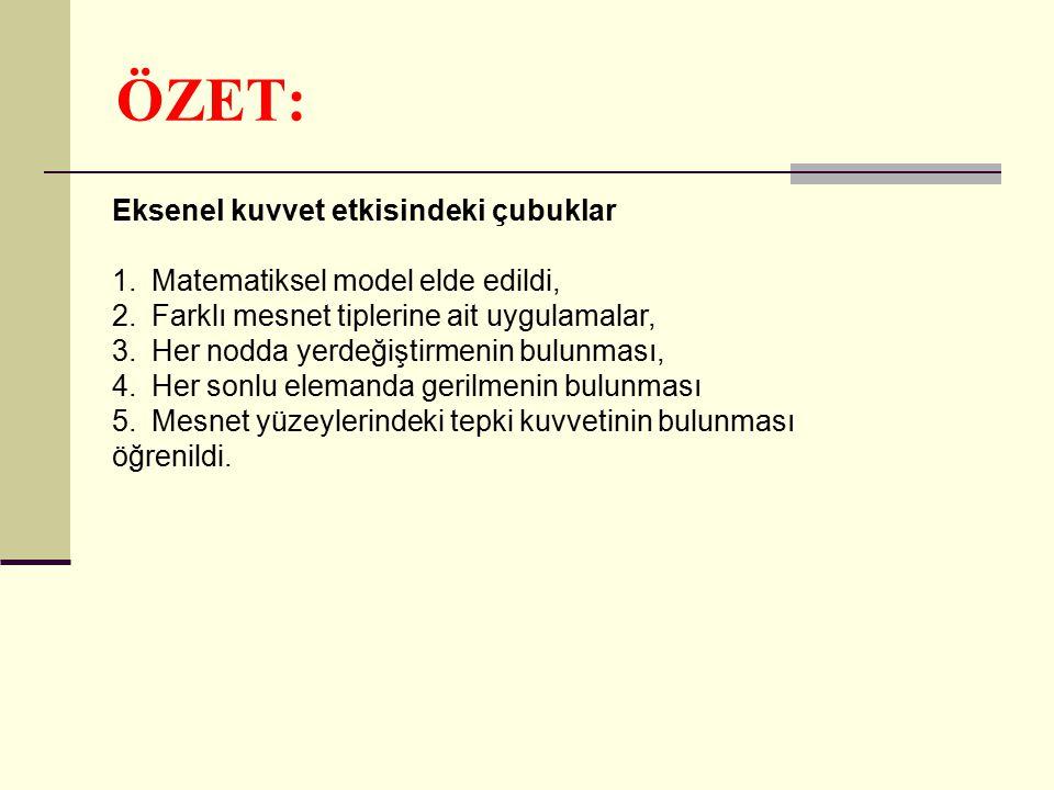 ÖZET: Eksenel kuvvet etkisindeki çubuklar 1.Matematiksel model elde edildi, 2.Farklı mesnet tiplerine ait uygulamalar, 3.Her nodda yerdeğiştirmenin bu