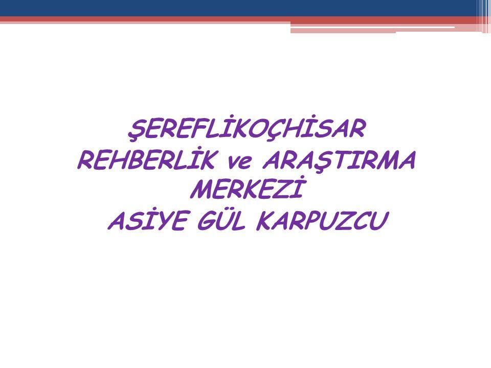 ŞEREFLİKOÇHİSAR REHBERLİK ve ARAŞTIRMA MERKEZİ ASİYE GÜL KARPUZCU