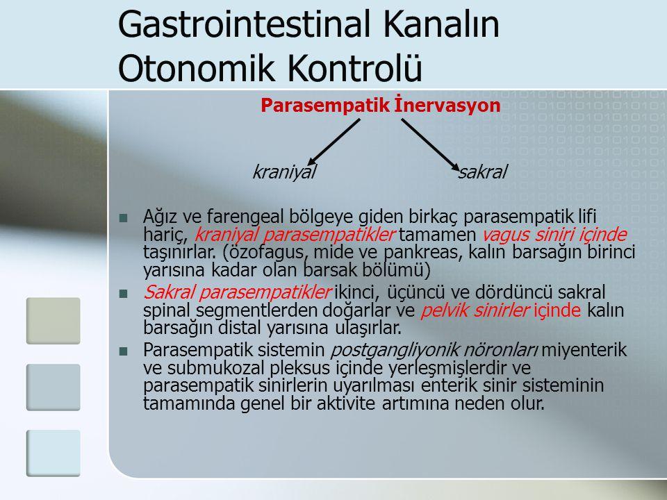 Gastrointestinal Kanalın Otonomik Kontrolü Parasempatik İnervasyon kraniyal sakral Ağız ve farengeal bölgeye giden birkaç parasempatik lifi hariç, kra