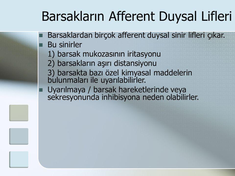 Barsakların Afferent Duysal Lifleri Barsaklardan birçok afferent duysal sinir lifleri çıkar. Bu sinirler 1) barsak mukozasının iritasyonu 2) barsaklar