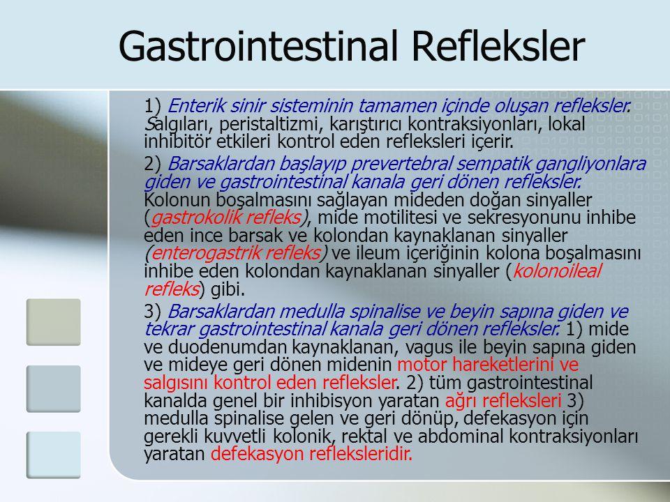 Gastrointestinal Refleksler 1) Enterik sinir sisteminin tamamen içinde oluşan refleksler. Salgıları, peristaltizmi, karıştırıcı kontraksiyonları, loka