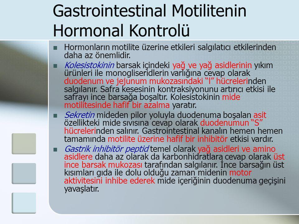 Gastrointestinal Motilitenin Hormonal Kontrolü Hormonların motilite üzerine etkileri salgılatıcı etkilerinden daha az önemlidir. Kolesistokinin barsak