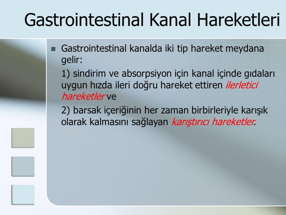 Gastrointestinal Kanal Hareketleri Gastrointestinal kanalda iki tip hareket meydana gelir: 1) sindirim ve absorpsiyon için kanal içinde gıdaları uygun