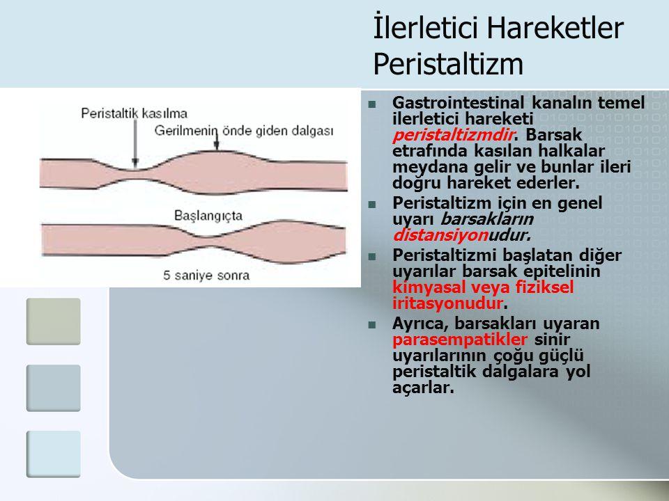 İlerletici Hareketler Peristaltizm Gastrointestinal kanalın temel ilerletici hareketi peristaltizmdir. Barsak etrafında kasılan halkalar meydana gelir