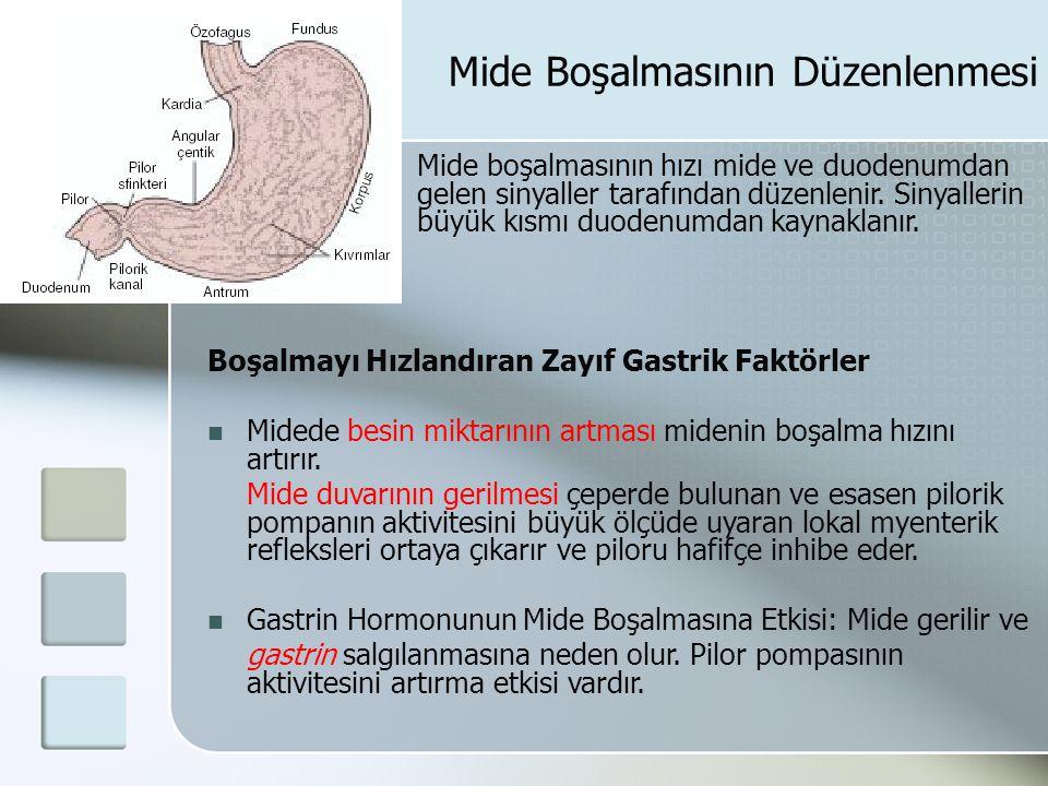 Mide Boşalmasının Düzenlenmesi Mide boşalmasının hızı mide ve duodenumdan gelen sinyaller tarafından düzenlenir. Sinyallerin büyük kısmı duodenumdan k