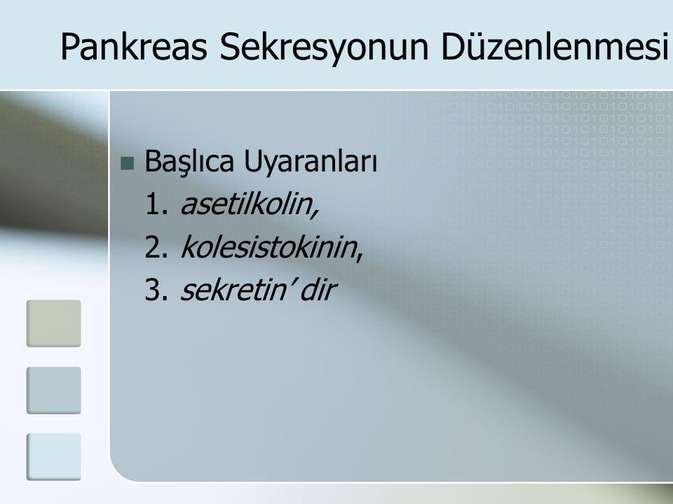Pankreas Sekresyonun Düzenlenmesi Başlıca Uyaranları 1. asetilkolin, 2. kolesistokinin, 3. sekretin' dir
