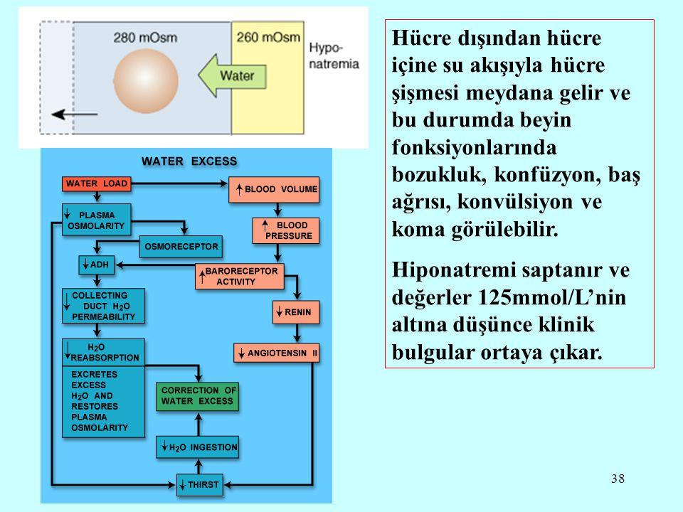 38 Hücre dışından hücre içine su akışıyla hücre şişmesi meydana gelir ve bu durumda beyin fonksiyonlarında bozukluk, konfüzyon, baş ağrısı, konvülsiyo