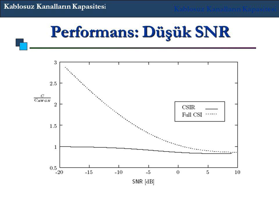 Performans: Düşük SNR Su Dolumu düşük SNR değerinde önemli bir kazanç sağlar. Kablosuz Kanalların Kapasitesi